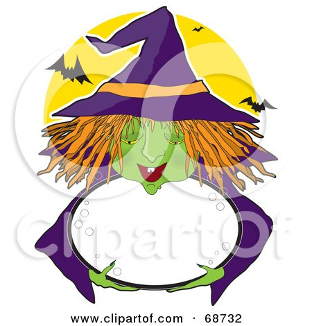 Royalty-Free (RF) Clipart Illustration of a Green Witch With Orange Hair, Holding A Bubbly Cauldron, Against A Full Moon With Bats by Maria Bell