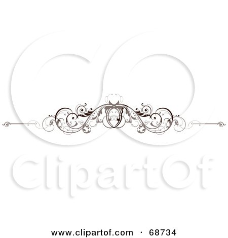 Royalty-Free (RF) Clipart Illustration of a Dark Brown Floral Scroll Design Element - Version 8 by OnFocusMedia