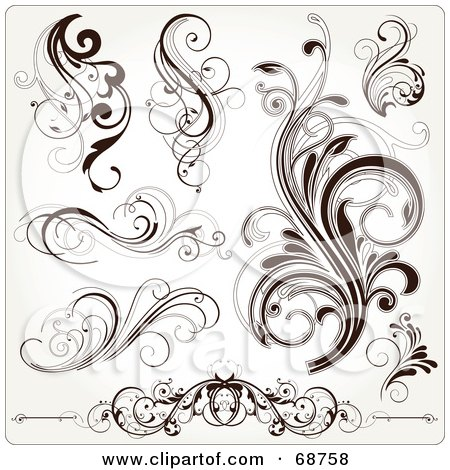 Dark Tattoos on Digital Collage Of Dark Brown Floral Scroll Design Elements