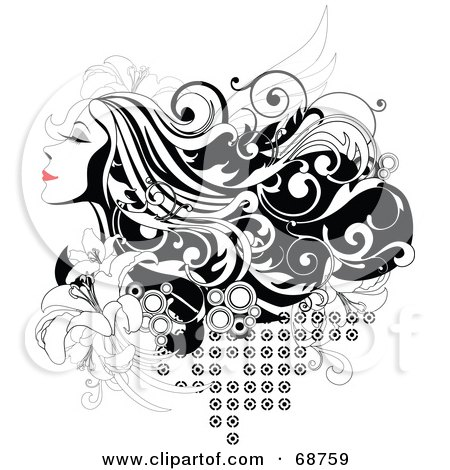 Royalty-Free (RF) Clipart Illustration of a Black And White Background Of A Woman With Long Hair And Red Lips, With Flowers And Circles by OnFocusMedia