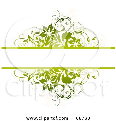 Royalty-Free (RF) Clipart Illustration of a Green Floral Text Bar Background With Blank Space On White by OnFocusMedia