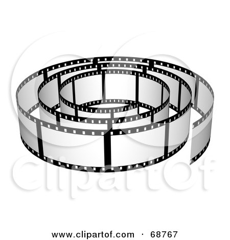 Royalty-Free (RF) Clipart Illustration of a Film Strip Roll With Blank Frames by ShazamImages