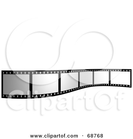 Royalty-Free (RF) Clipart Illustration of a Blank Film Strip Standing Up Over White by ShazamImages