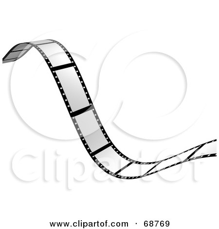 Royalty-Free (RF) Clipart Illustration of a Blank Wavy Film Strip Over White by ShazamImages