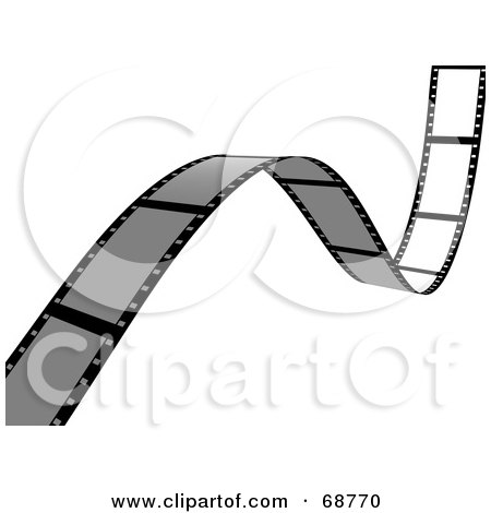 Royalty-Free (RF) Clipart Illustration of a Blank Film Strip Waving Over White by ShazamImages