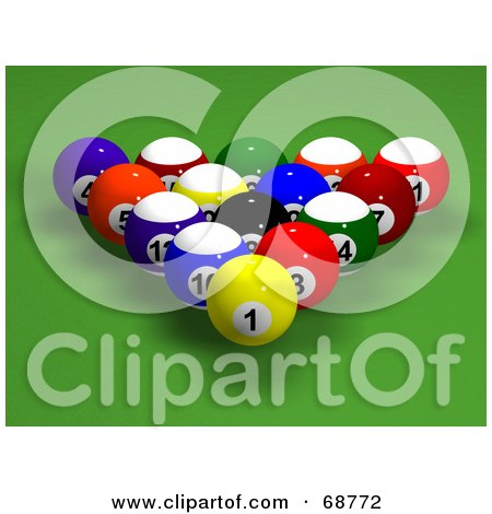 Royalty-Free (RF) Clipart Illustration of Racked And Centered 3d Billards Balls On Green by ShazamImages