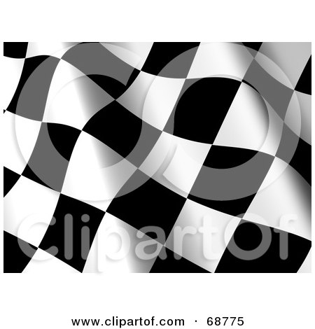Royalty-Free (RF) Clipart Illustration of a 3d Wavy Racing Flag Background - Version 2 by ShazamImages