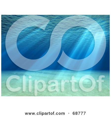 Royalty-Free (RF) Clipart Illustration of a 3d Underwater Scene With Light Shining Through The Surface by ShazamImages
