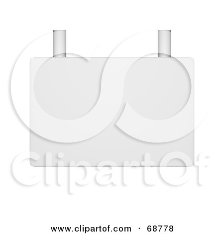 Royalty-Free (RF) Clipart Illustration of a Blank White Sign With Chrome Bars by ShazamImages