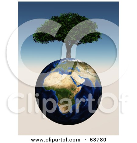 Royalty-Free (RF) Clipart Illustration of a 3d Cherry Tree Growing On Top Of An African Globe by ShazamImages