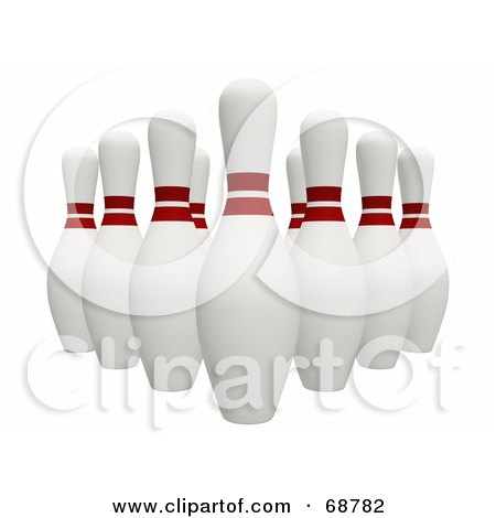 Royalty-Free (RF) Clipart Illustration of Organized 3d Bowling Pins On White by ShazamImages