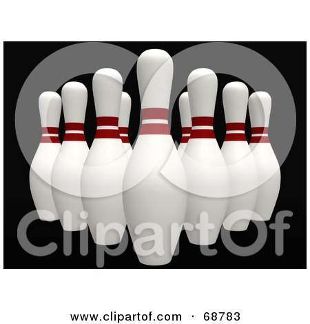Royalty-Free (RF) Clipart Illustration of Organized 3d Bowling Pins On Black by ShazamImages