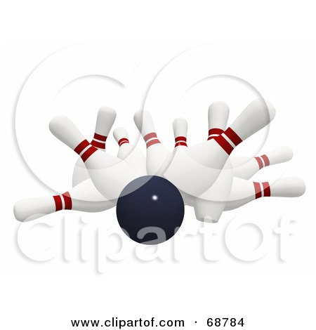 Royalty-Free (RF) Clipart Illustration of a Bowling Ball Crashing Hard Into 3d Bowling Pins On White by ShazamImages