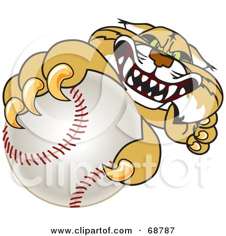 Royalty-Free (RF) Clipart Illustration of a Bobcat Character Grabbing a Baseball by Toons4Biz