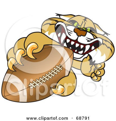 Royalty-Free (RF) Clipart Illustration of a Bobcat Character Grabbing a Football by Toons4Biz
