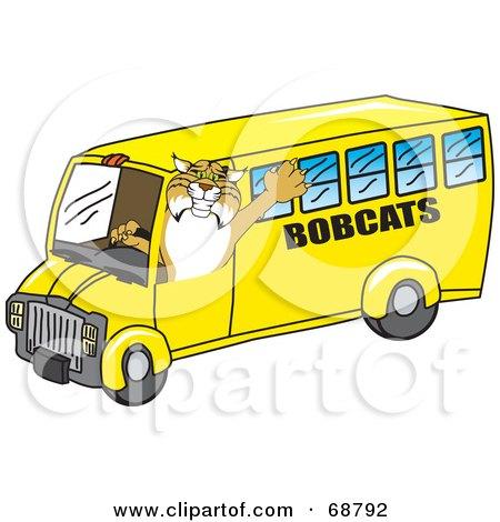 Bobcat Character Driving a School Bus Posters, Art Prints