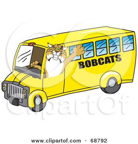 Royalty-Free (RF) Clipart Illustration of a Bobcat Character Driving a School Bus by Toons4Biz