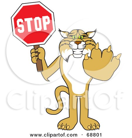 Royalty-Free (RF) Clipart Illustration of a Bobcat Character Holding a Stop Sign by Toons4Biz