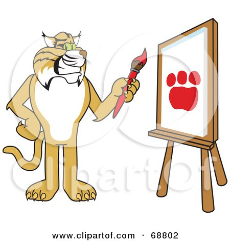 Royalty-Free (RF) Clipart Illustration of a Bobcat Character Painting a Paw Print by Toons4Biz
