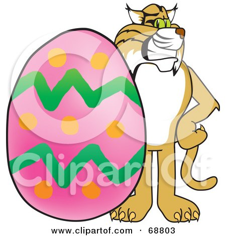 Royalty-Free (RF) Clipart Illustration of a Bobcat Character With an Easter Egg by Toons4Biz
