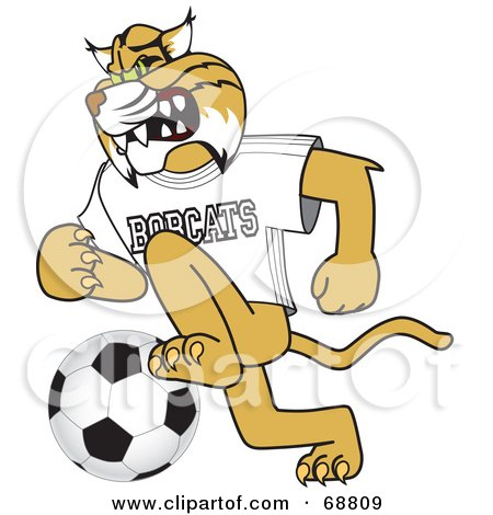 Bobcat Character Playing Soccer Posters, Art Prints