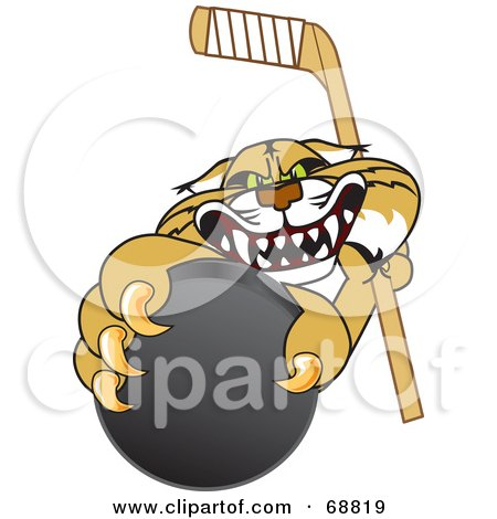 Royalty-Free (RF) Clipart Illustration of a Bobcat Character Grabbing a Hockey Puck by Toons4Biz