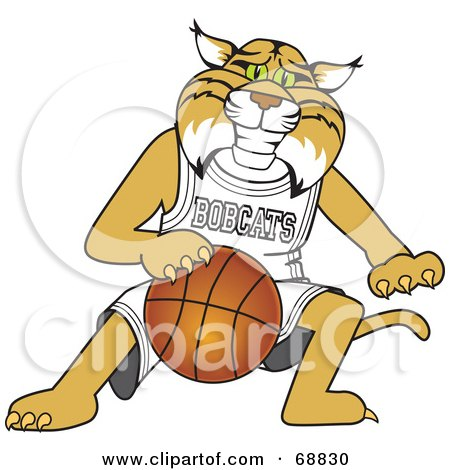 Royalty-Free (RF) Clipart Illustration of a Bobcat Character Playing Basketball by Toons4Biz
