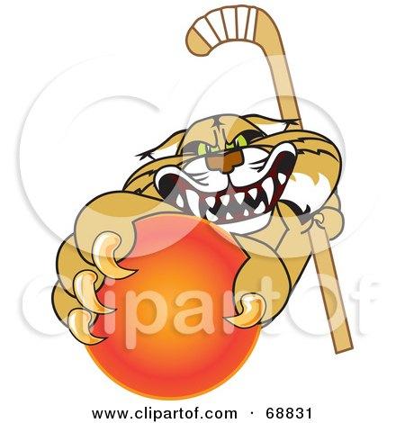 Royalty-Free (RF) Clipart Illustration of a Bobcat Character Grabbing a Hockey Ball by Toons4Biz
