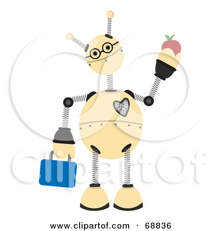 Springy Robot Student Carrying A Lunch Box And Apple by mheld