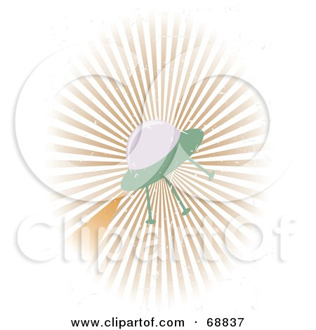 Royalty-Free (RF) Clipart Illustration of a Grungy UFO On A Bursting Background by mheld