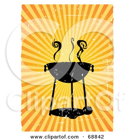 Royalty-Free (RF) Clipart Illustration of a Grungy Black Barbeque With Smoke Over A Bursting Background by mheld