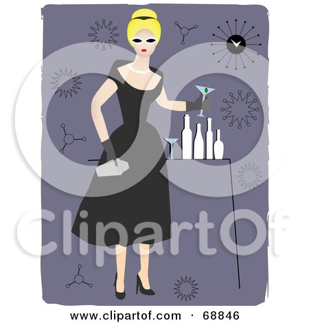 Cocktail Party Dress on Black Dress  Holding A Tumbler And Cocktail At A Party By Mheld  68846