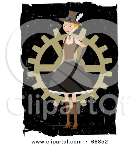 Royalty-Free (RF) Clipart Illustration of a Steampunk Woman Standing In Front Of A Wheel by mheld