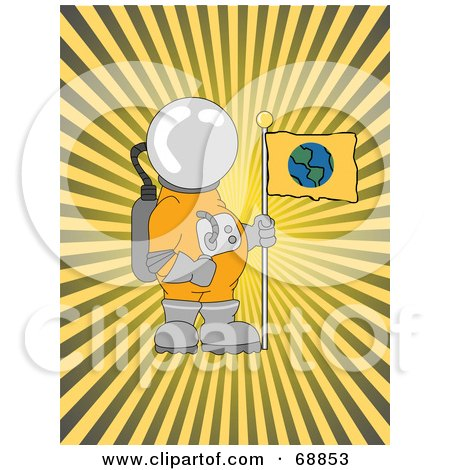 Royalty-Free (RF) Clipart Illustration of an Astronaut With An Earth Flag Over A Bursting Yellow Background by mheld