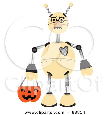 Royalty-Free (RF) Clipart Illustration of a Springy Robot Trick Or Treating On Halloween by mheld