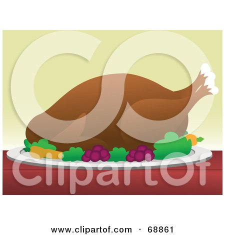 Royalty-Free (RF) Clipart Illustration of a Roasted Turkey Served On A Plate With Vegetables by mheld