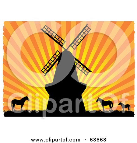 Royalty-Free (RF) Clipart Illustration of a Windmill And Horses Silhouetted Against An Orange Bursting Sunset by mheld