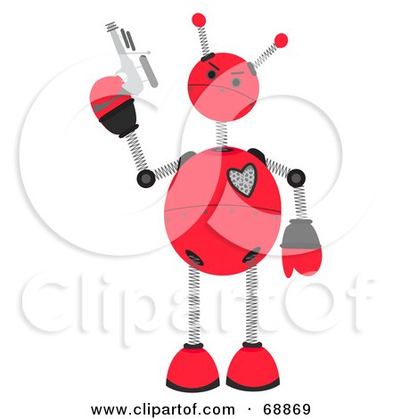 Royalty-Free (RF) Clipart Illustration of a Springy Red Robot Holding A Gun by mheld