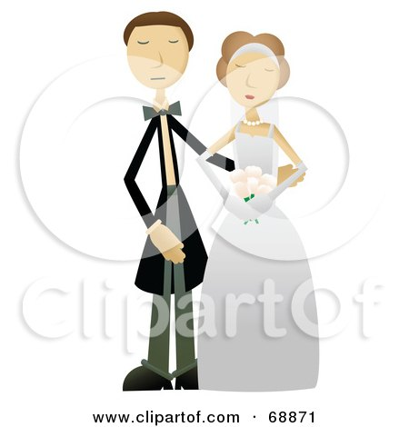 Royalty-Free (RF) Clipart Illustration of a Caucasian Wedding Couple Posing Together by mheld