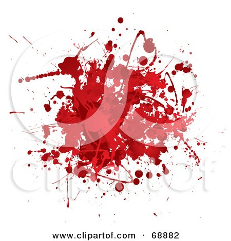 Royalty-Free (RF) Clipart Illustration of a Red And White Blood Splatter Background - Version 2 by michaeltravers