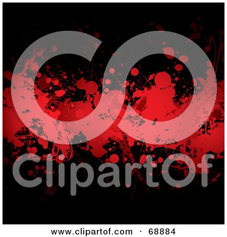 Royalty-Free (RF) Clipart Illustration of a Red And Black Blood Splatter Background - Version 3 by michaeltravers