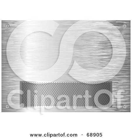 Royalty-Free (RF) Clipart Illustration of a Silver Brushed Metal Grill Background With A Vent by michaeltravers