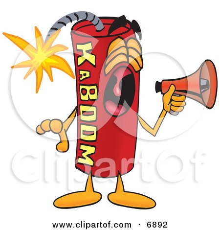 Clipart Picture of a Red Dynamite Mascot Cartoon Character Screaming Into a Megaphone by Toons4Biz