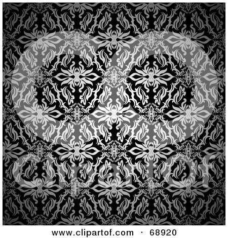 Royalty-Free (RF) Clipart Illustration of a Black And White Dark Silk Floral Pattern Background by michaeltravers