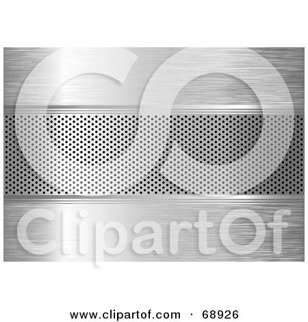 Royalty-Free (RF) Clipart Illustration of a Silver Metal Grill Background With A Vent by michaeltravers
