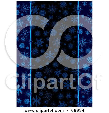 Royalty-Free (RF) Clipart Illustration of a Dark Blue Christmas Background Of Snowflakes by michaeltravers