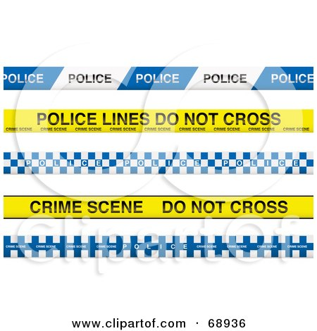Digital Collage Of Blue And Yellow Police Lines Tapes Posters, Art ...