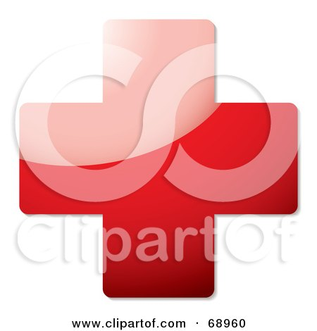 Royalty-Free (RF) Clipart Illustration of a Shiny 3d Red Cross by michaeltravers