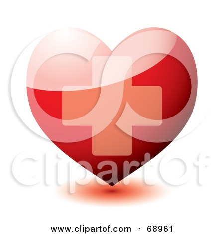 Royalty-Free (RF) Clipart Illustration of a 3d Shiny Red Heart With A Cross by michaeltravers
