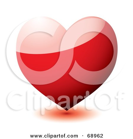 Royalty-Free (RF) Clipart Illustration of a 3d Shiny Red Heart by michaeltravers